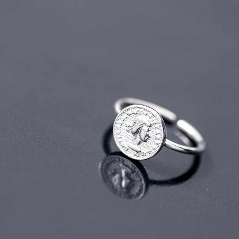 Antique Coin Sterling Silver Ring