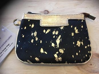 Small Clutch- Ontario - Gold Black Hairon and Gold Leather