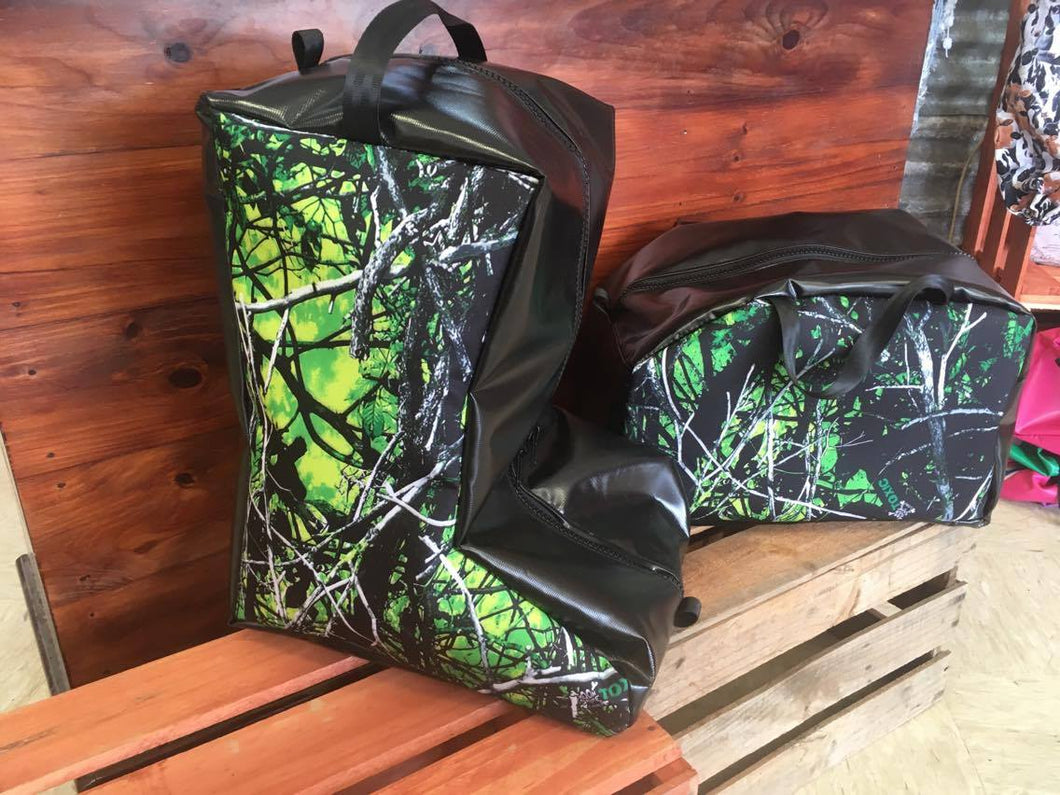 Camo Motorbike Boot Bag & Helmet Bag Set