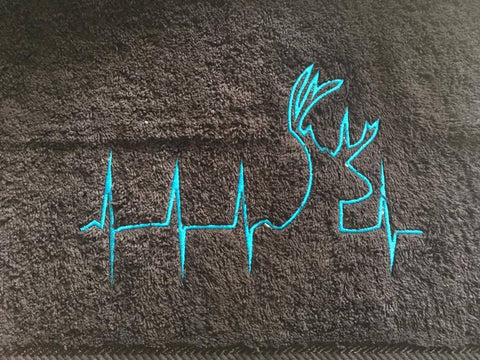 Custom Embroidered Hunting Heartbeat Hand Towel