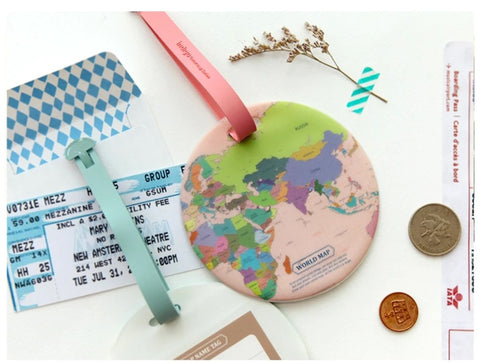 world map suitcase tag