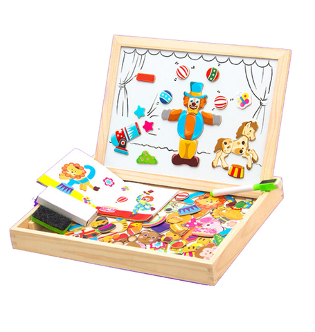 Wooden Magnetic Puzzle Toy with Drawing Board |100+ Pieces