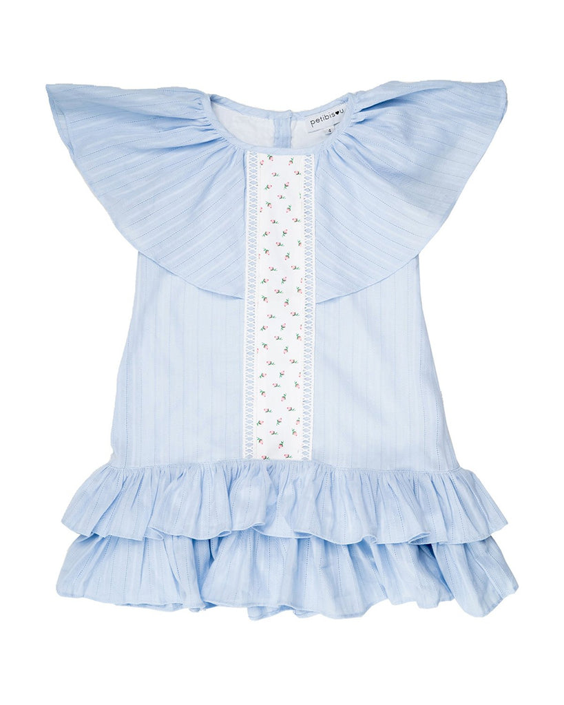 Angel Baby Blue Ruffle Dress by top Childrens French Fashion Boutique, PetiBisou