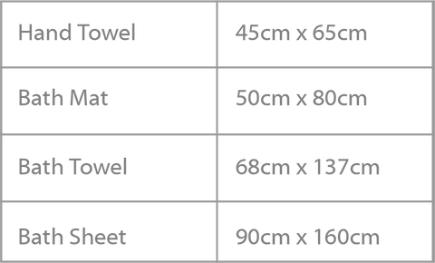 Greg Natale Towel Sizes