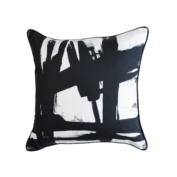 Black Paint Black and White Cushion
