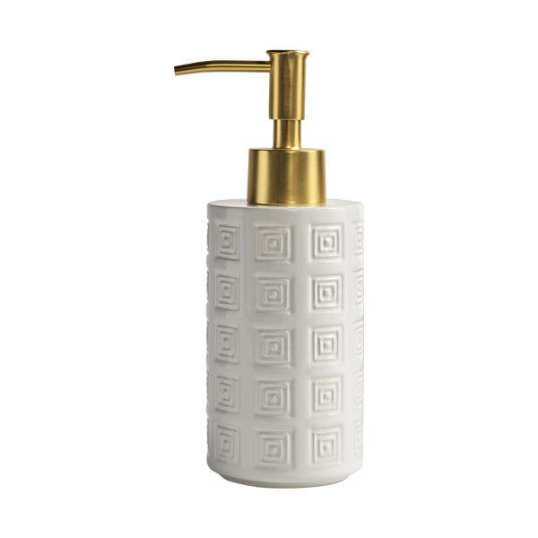 Hellenica Ceramic Soap Pump White with Brass Pump