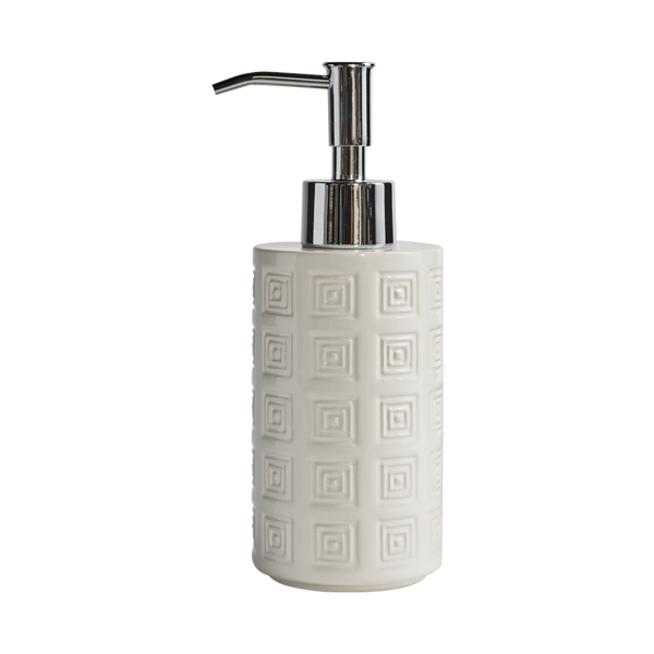 Hellenica Ceramic Soap Pump White with Silver Pump