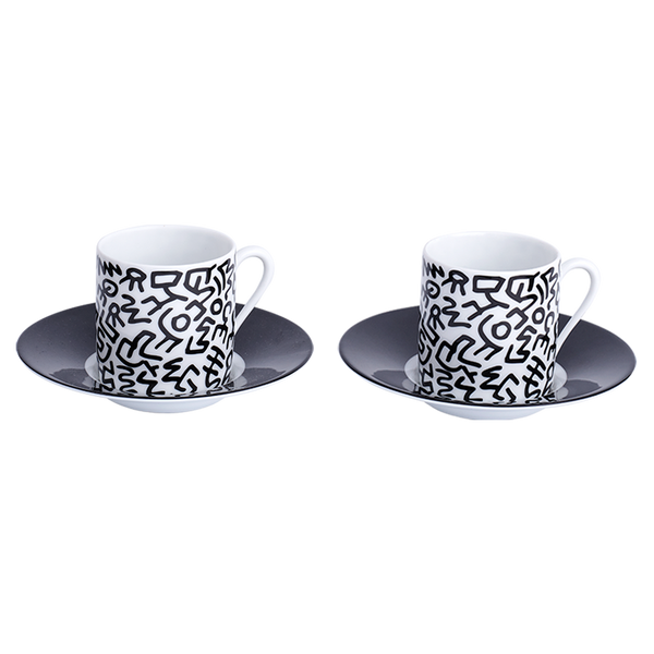 Keith Haring Limoges Porcelain Espresso Set Black