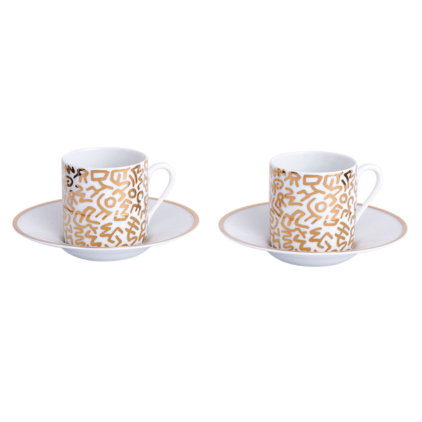 Keith Haring Limoges Porcelain Espresso Set Gold