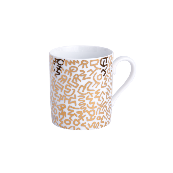 Keith Haring Limoges Porcelain Mug Gold