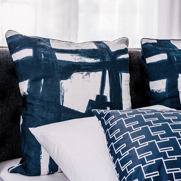 Paint Brush European Pillowcase Navy