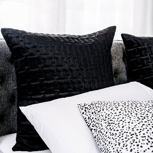Quilted European Pillowcase Black