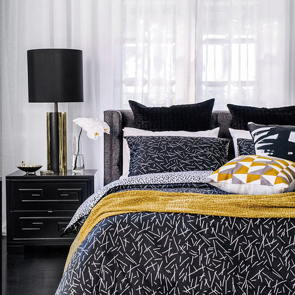 Aquarius Quilt Cover Set Black & White