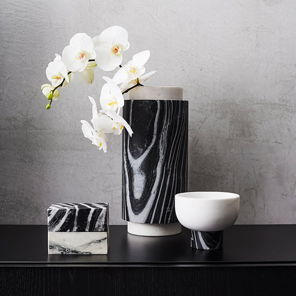Pillar Vase Bianco & Zebrano Small