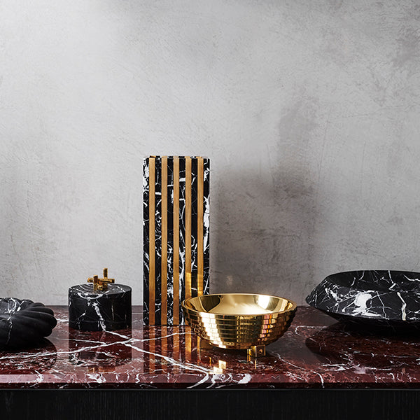 Rod Candlestick Nero & Brass