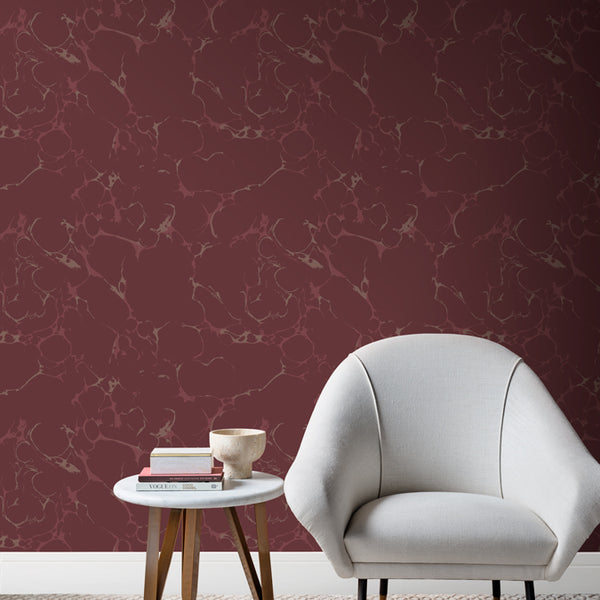 Marmaro Wallpaper Wine Pearl & Chocolate