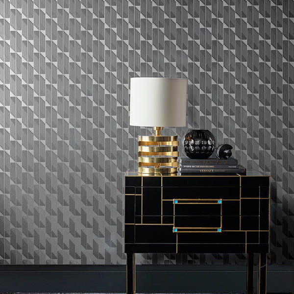 Scala Wallpaper Caviar Grey & Gunmetal Pearl