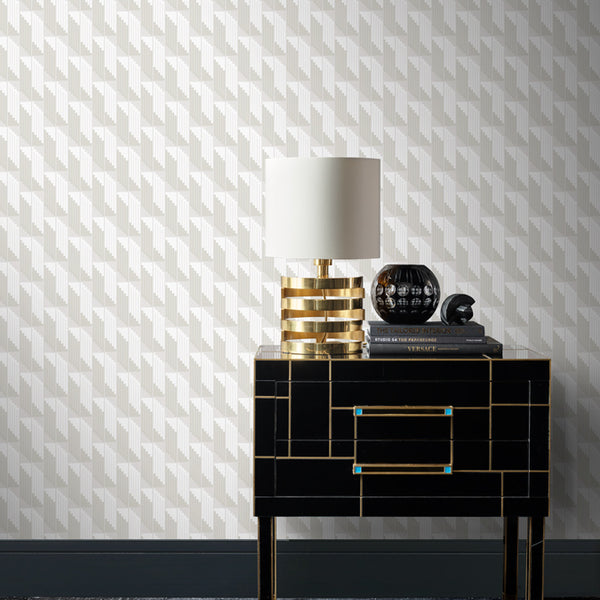 Scala Wallpaper Gloss White & White Pearl