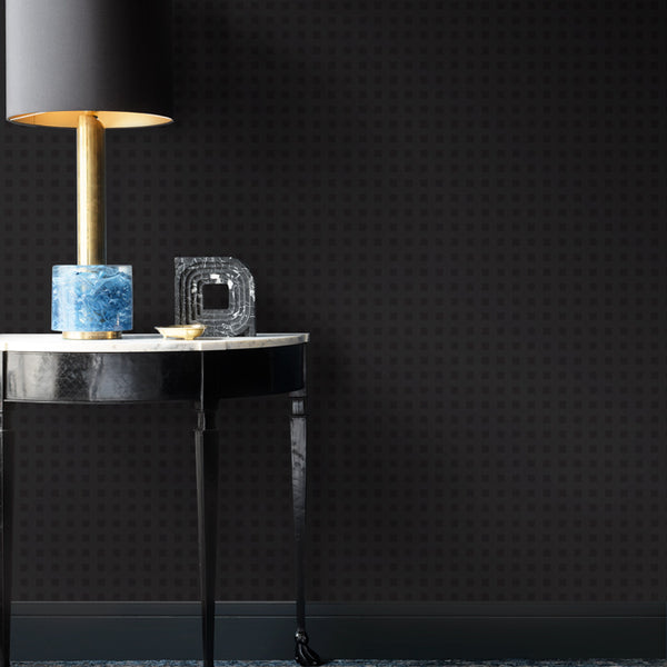 Hellenica Wallpaper Matte Black on Midnight