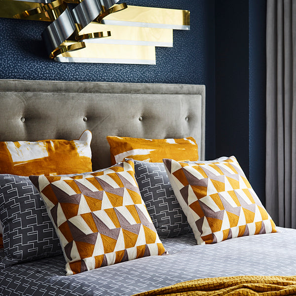 Paint Brush European Pillowcase Mustard