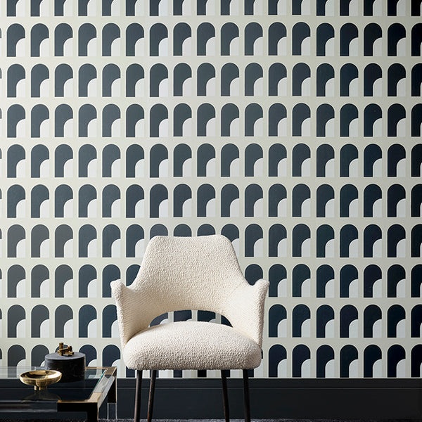 Palazzo Wallpaper Matte White & Domino Black