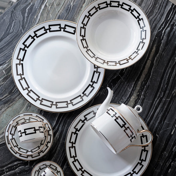 Gio Ponti Chains Flat Dinner Plate Black