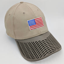 American Flag Hat (100% Made in USA) - Khaki Brown