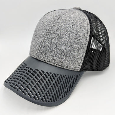 Boat Brim Grey and Black Jean Trucker Hat