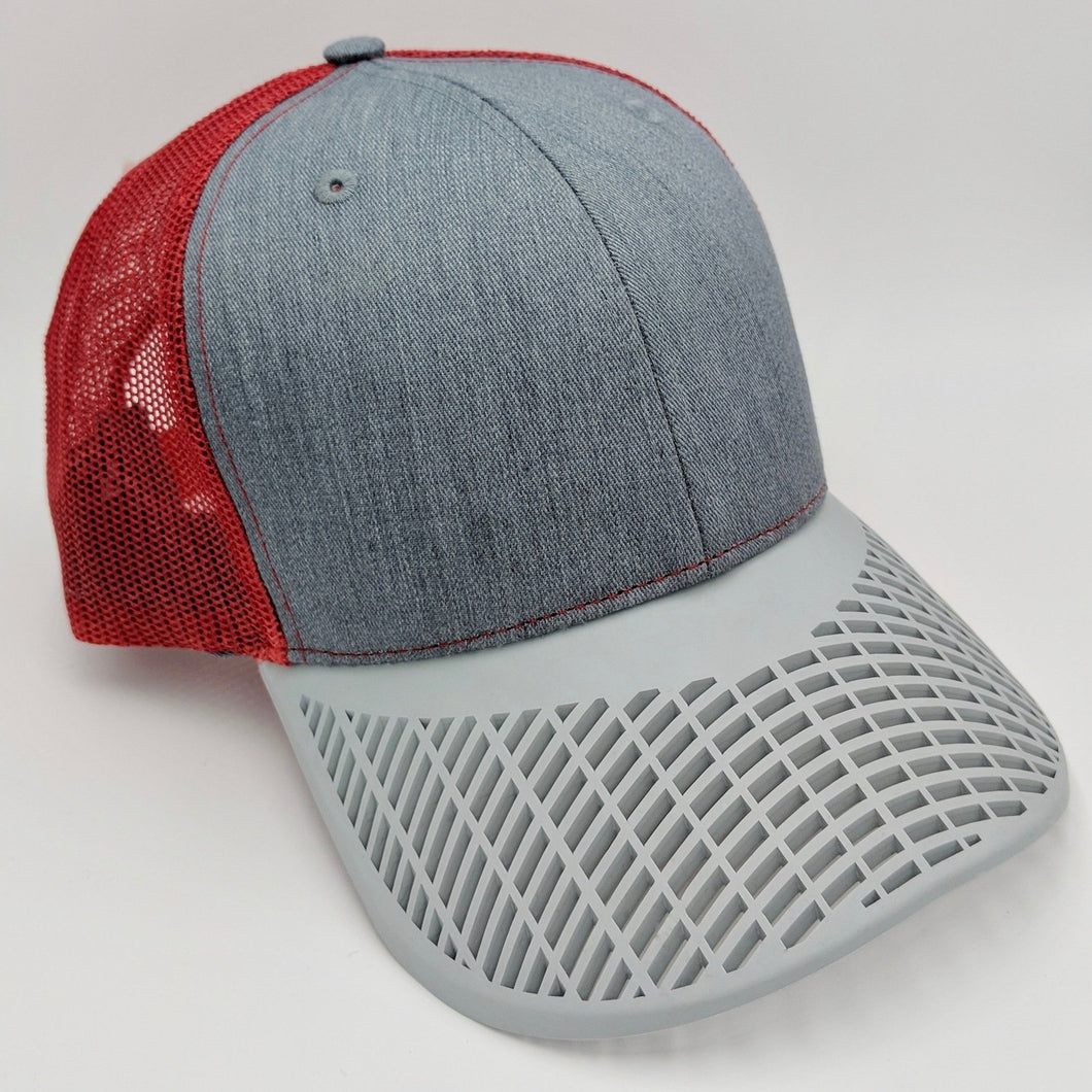 Boat Brim Grey and Red Trucker Hat