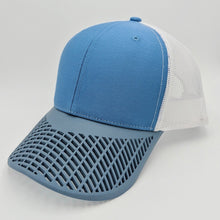 Boat Brim Blue White and Peacock Trucker Hat