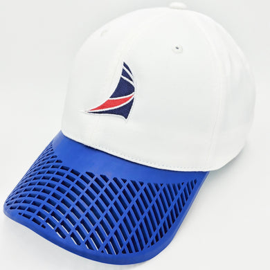 Boat Brim Sail Hat (New Style) White and Blue