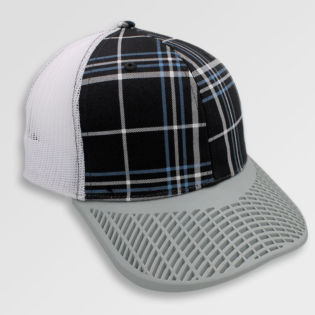 Plaid with Grey Brim Trucker Hat