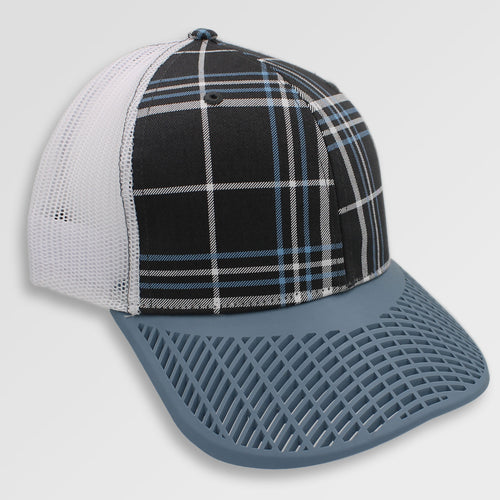 Plaid with Dusk Blue Brim Trucker Hat