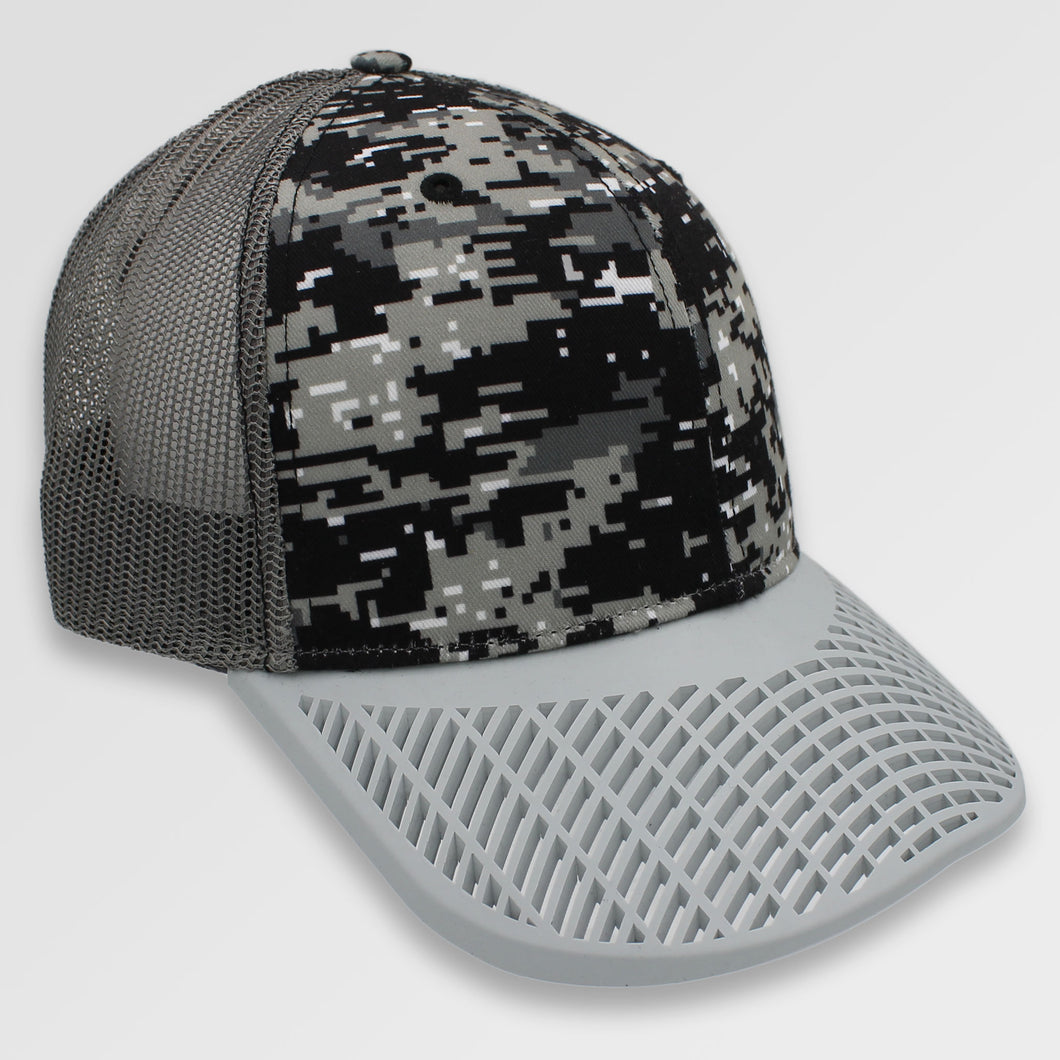 Digital Camo Trucker Hat - Dove Grey Brim