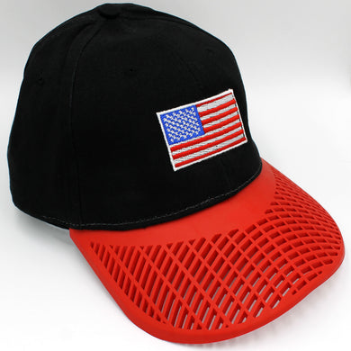American Flag Hat (100% Made in USA)  - Black w/ Red Brim