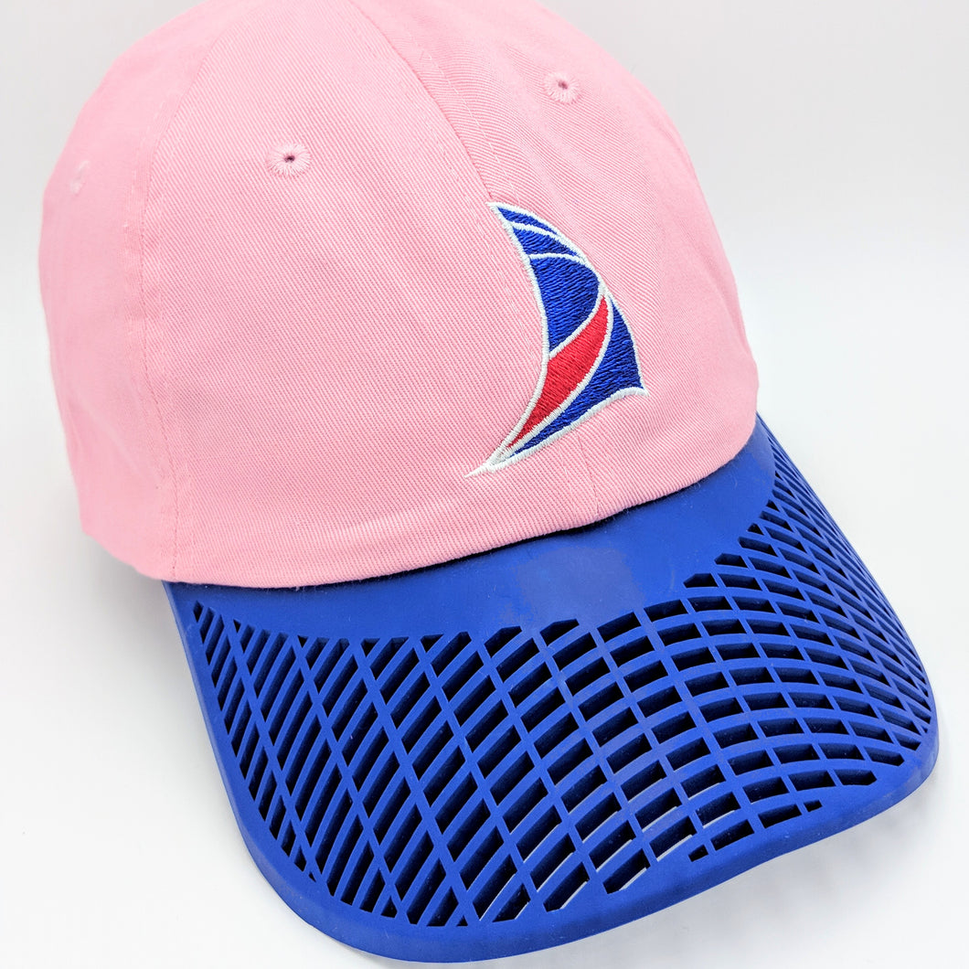 Ladies Sail Hat - Pink with Blue Brim
