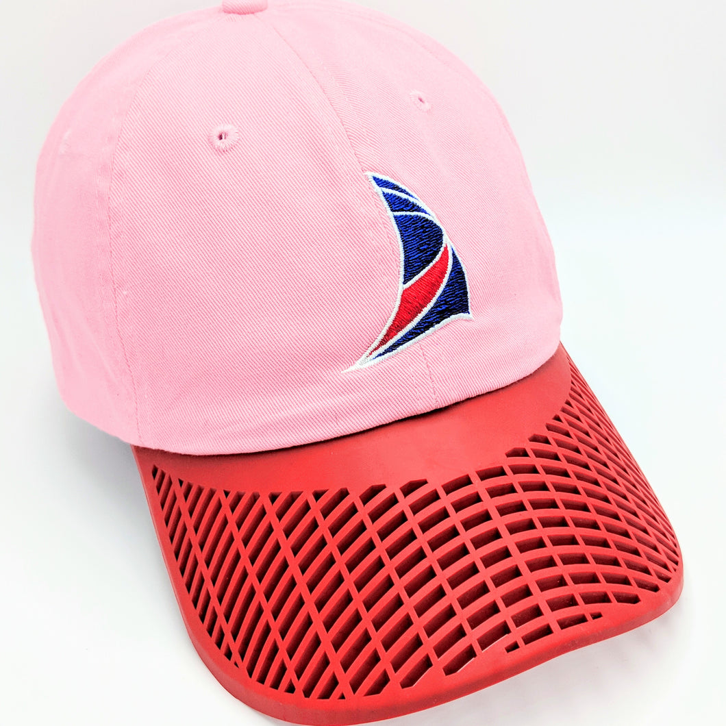 Ladies Sail Hat - Pink with Red Brim