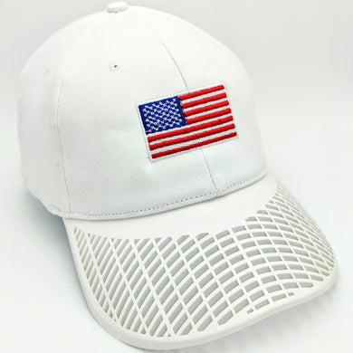 American Flag Hat (100% Made in USA) - White Brim