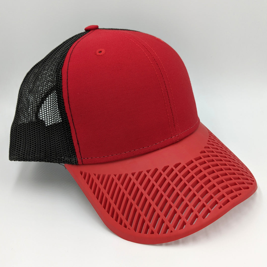 Boat Brim Trucker Hat - Red and Black