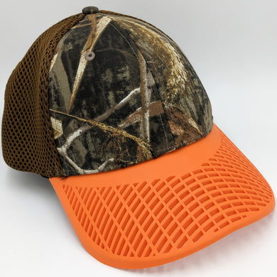 Fitted Camo w/Orange Brim Trucker Hat