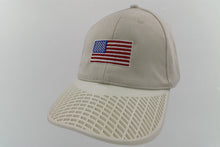 American Flag Hat (100% Made in USA) - Sand Hat with White Brim