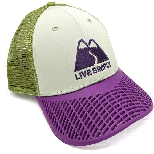 LIMITED EDITION: Patagonia Purple Brim 'Live Simply' Trucker Hat