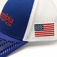 LIMITED EDITION: Columbia PFG Fitted Flag Patch Hat, Blue Brim