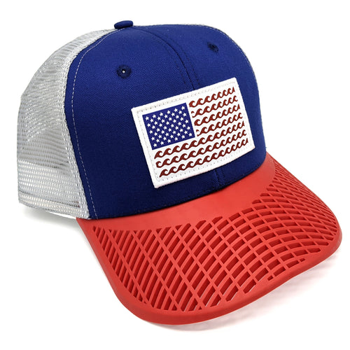 'Wave' Trucker Hat - Blue/Red