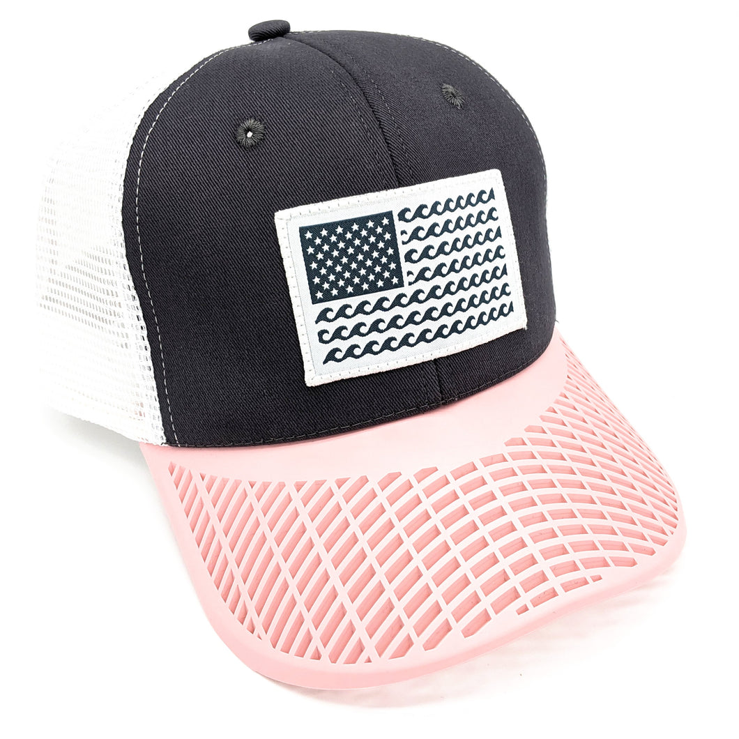 'Wave' Trucker Hat - Grey/Pink
