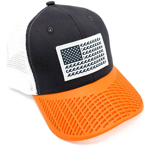 'Wave' Trucker Hat - Grey/Orange