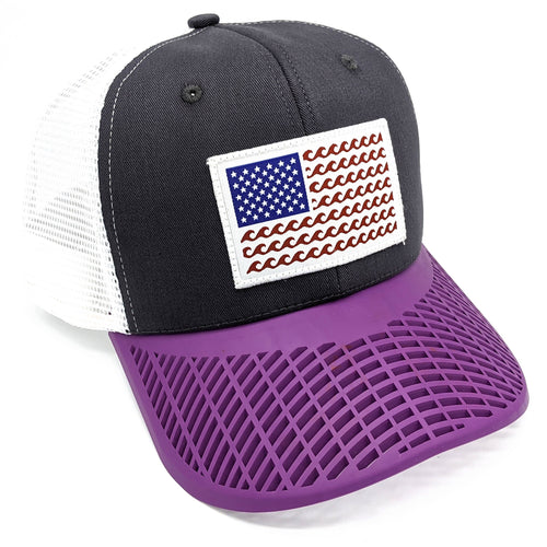 'Wave' Trucker Hat - Grey/Purple