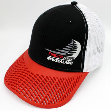 Limited Edition Team New Zealand Emirates Trucker Hat - Black & White with Red Brim