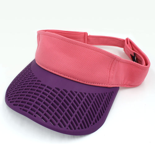 Performance Ladies Visor - Pink Performance Visor w/ Purple Brim