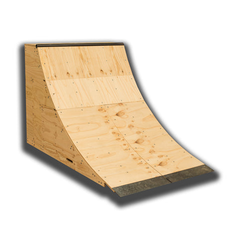 1172 ¼  - Doubles as a jump  - Gain setup speed quick for larger tricks in smaller areas  - Versatile for home, DIY parks, Youth groups and Schools  - Comes in three boxes for 1172 ¼  - Durable - Great kicker for dirt jumps  - Add second ¼ for larger grinds etc  - Back to back ¼'s for table top / Spine - Easy stored with caster wheels - Add action sports paint to protect your ramp - Four ¼'s to makes a half pipe